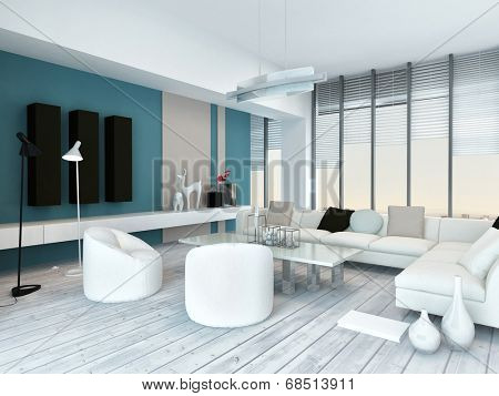 Cool blue and white modern living room inyerior with white painted wooden floorboards, a modern white lounge suite, blue accent walls and large floor-to ceiling panoramic glass windows