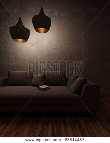 Night scene in a living room with an abandoned book lying on a comfortable couch below hanging lamps casting a subdued light and shadows
