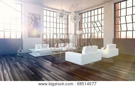 Very bright high volume modern living room interior with revolving cottage pane windows, wooden parquet floor and modern white lounge suite with lens flare from the bright sunlight
