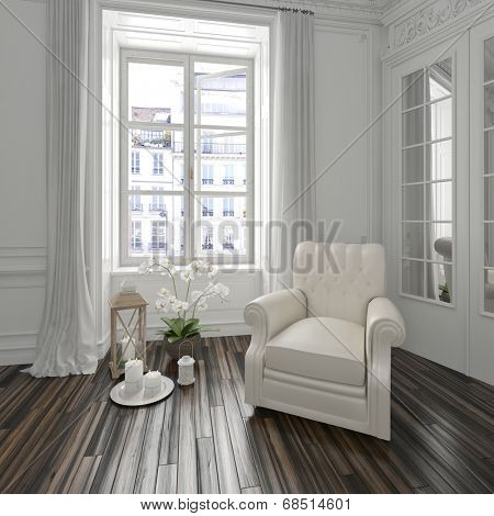 Bright airy white townhouse living room interior with a comfortable upholstered armchair in the corner alongside a window on a parquet floor with decorative candles and flowers