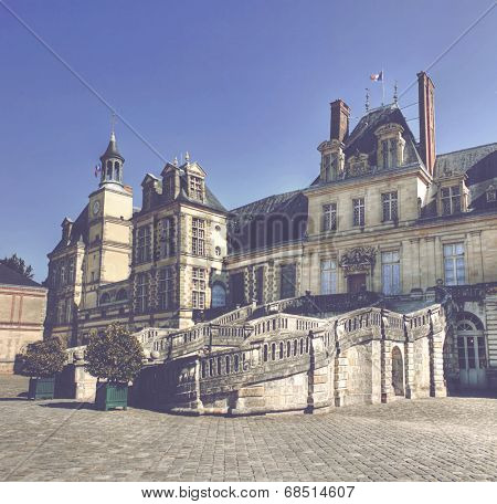 View of the Chateau de Fontainebleau and its famous stairway, situated close to Paris it introduced the Mannerist style of architecture to France and is the largest royal chateau