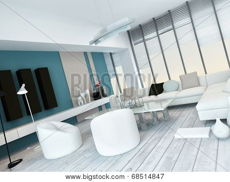 Fresh white and blue living room interior with white painted floorboards, a modern modular white lounge suite, large floor-to-ceiling glass windows and blue wall accents with cabinets