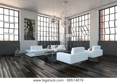 Very bright high volume modern living room interior with revolving cottage pane windows, wooden parquet floor and modern white lounge suite
