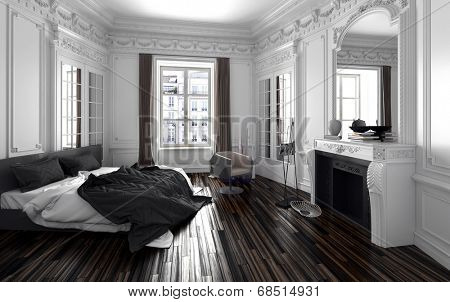 Classic black and white bedroom interior decor with a double bed with unmade duvet, long windows with drapes, a fireplace with overmantel mirror , a molded cornice and parquet floor