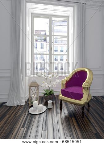 Colorful purple upholstered armchair in a chic interior standing on parquet flooring in front of a long window with flowers and candle decorations