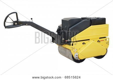 The image of a road roller under the white background