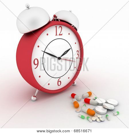 Medicine pills and red retro alarm clock. Conception of reception of pills on hours. 3d render illustration.