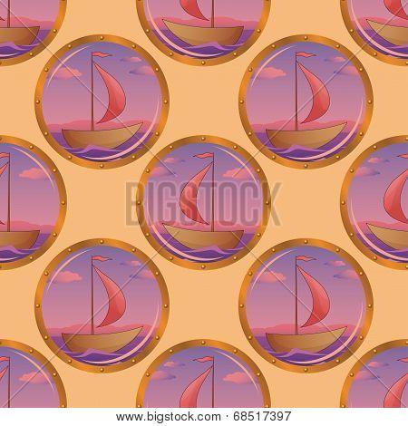 Seamless background, portholes and ships