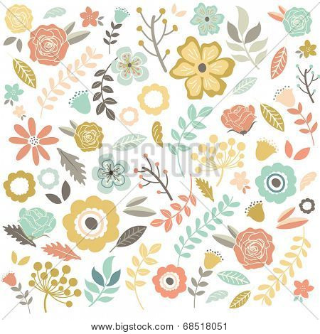 Hand Drawn single Flowers Background - Illustration
