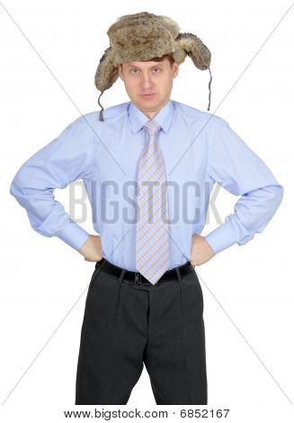 Comic Russian Man In A Fur Hat On White Background