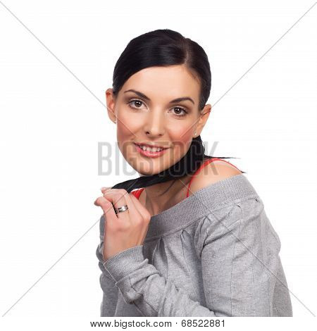 Portrait Of Young Happy Woman Flirting