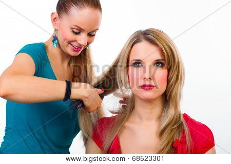 Beautiful Young Woman Gets A Hairdo