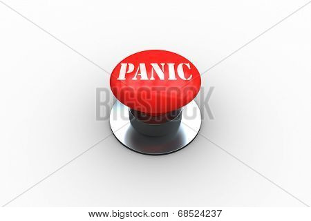 The word panic on digitally generated red push button