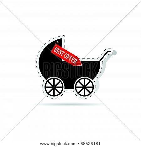 Baby Carriage As Label Illustration