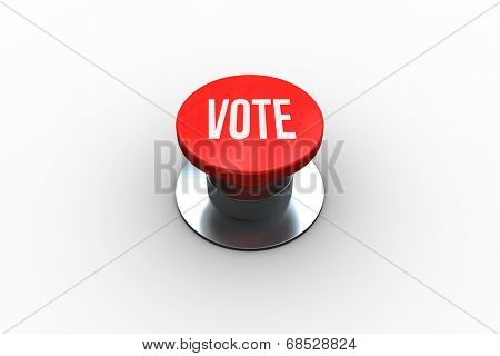 The word vote on digitally generated red push button