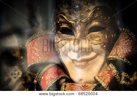 VENICE,ITALY- JULY 9:Traditional mask in shop in a small street. The Carnival of Venice is held annually in the city, starting around two weeks before Ash Wednesday and ends on Shrove Tuesday.