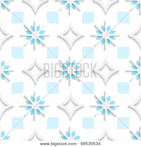White Pointy Rhombuses With Blue And White Snowflakes Seamless