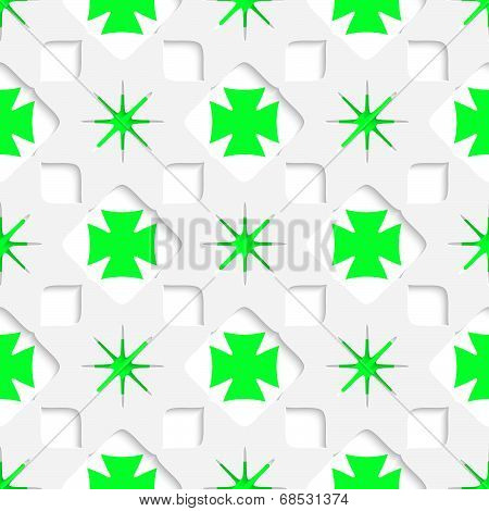 White Stars With Green Inner Parts Seamless