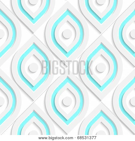 White Vertical Pointy Ovals With Dots Seamless