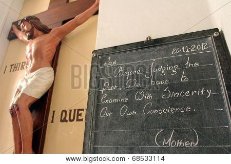 KOLKATA, INDIA - NOVEMBER 26: Mother Teresas Quote at Mother House in Kolkata, West Bengal, India on November 26,2014.