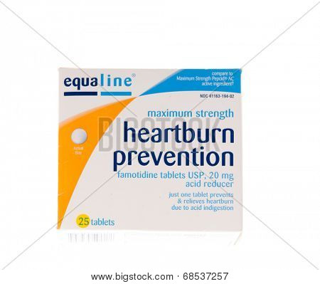 HAYWARD, CA - July 17, 2014: 25 tablet package of Equaline heartburn prevention tablets.