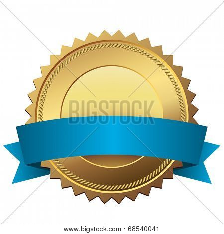Blank golden quality label with blue banner vector template isolated on white background.
