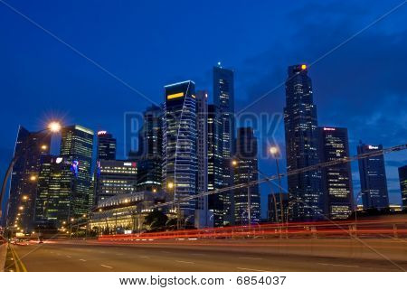 Singapore City Skyline Traffic
