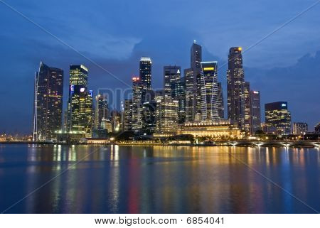 Singapore City Evening Skyline