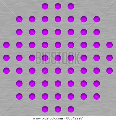 Brushed Metal Tile Background With Magenta Grill Holes