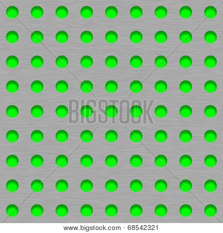 Brushed Metal Tile Background With Green Grill Holes