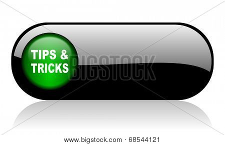 tips tricks black glossy banner