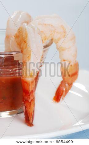 Closeup Jumbo Fresh Shrimp And Seafood Sauce