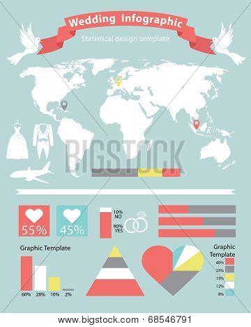 Wedding Infographics Set With World Map