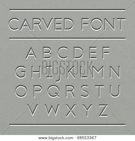 Carved font design. Vector.
