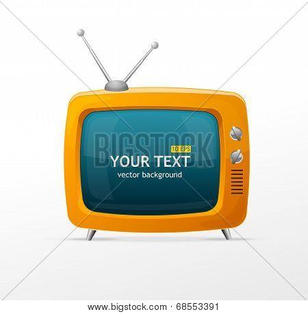 Vector orange retro TV