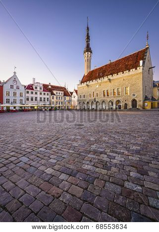 Tallinn, Estonia at the Old Town Hall Square.