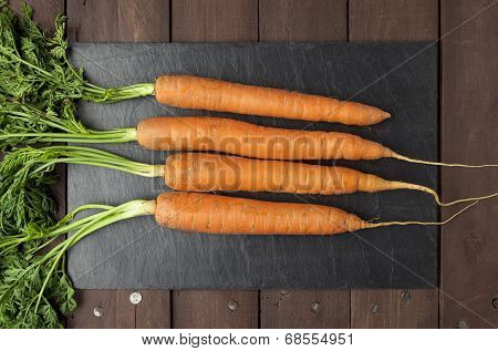 Real Carrots On Slate Plate