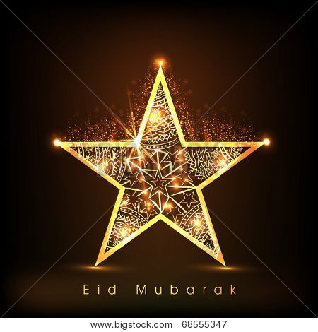 Golden star on shiny brown background for Muslim community festival Eid Mubarak celebrations.