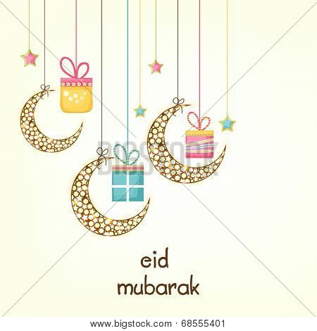 Muslim community festival Eid Mubarak celebrations with hanging moons and gift boxes on white background.