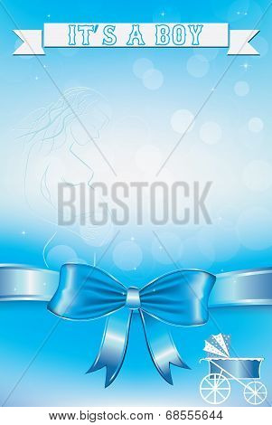 Blue Baby vector card - Its a boy theme