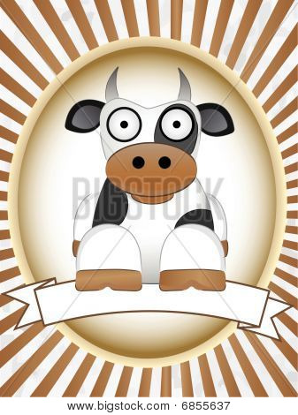 Cartoon Cow blank product label bright oval vector illustration