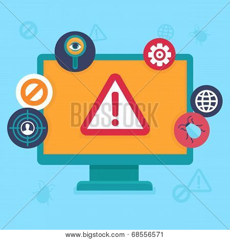 Vector Flat Icons - Internet Security And Virus