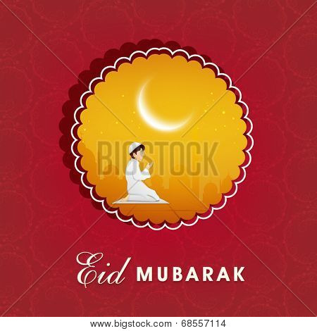 Stylish sticky for Muslim community festival Eid Mubarak celebrations with young muslim boy praying in crescent moon light on red background.