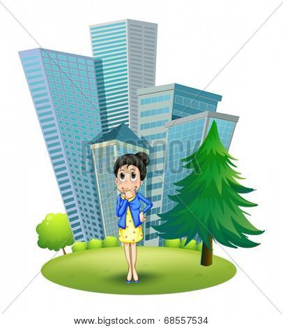 Illustration of a woman in front of the building on a white background