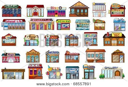 Illustration of the different buildings on a white background
