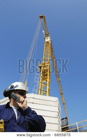 engineer and construction crane