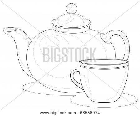 Teapot and cup, contours
