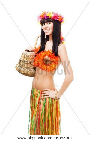 Woman In Costume Made Of Flowers Hold Basket
