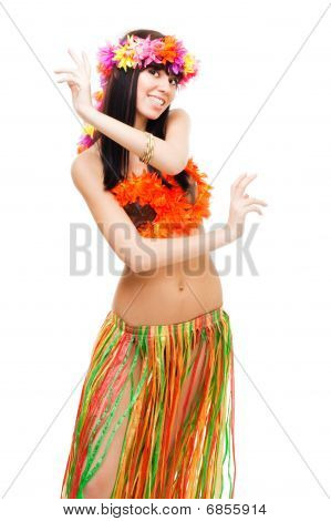 Girl In Bikini Dance Wearing Flowers Crown