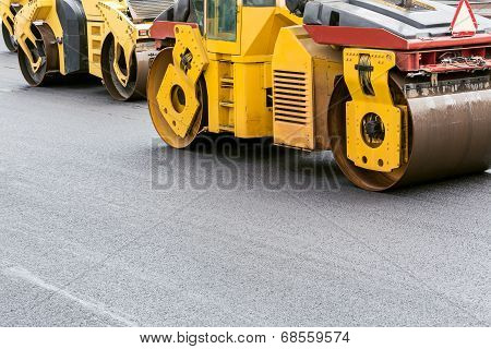 Yellow Road Rollers On Repairing Of The Road